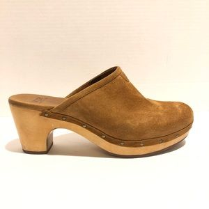 UGG Australia brown Kay suede and wood clogs